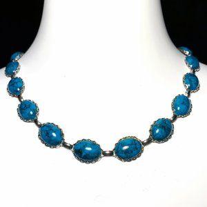 Vintage 70s Faux Turquoise Cabochon Necklace
